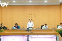 Ông Chử Xuân Dũng, Trưởng Ban Chỉ đạo phòng chống Covid-19 Hà Nội chủ trì phiên họp trực tuyến.