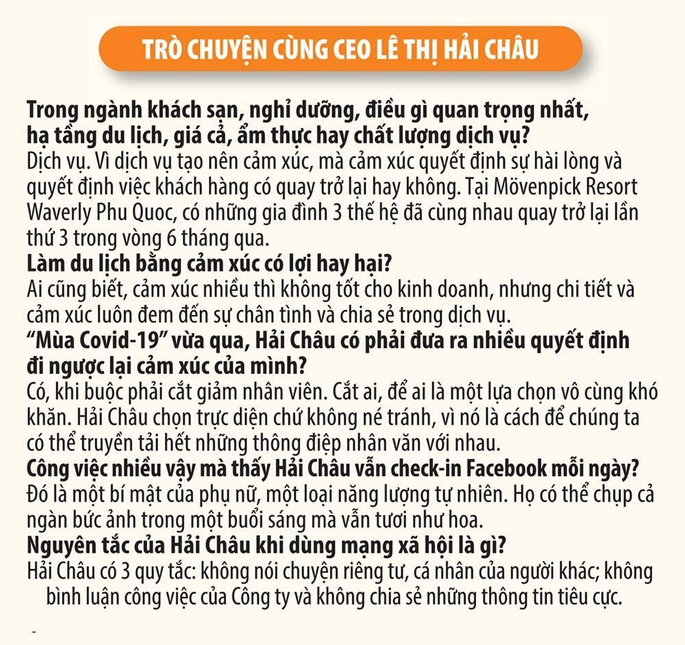 Doanh nhân Lê Thị Hải Châu, CEO Mövenpick Phu Quoc: Làm dịch vụ bằng trái tim, duy trì thương hiệu bằng cái đầu ảnh 5
