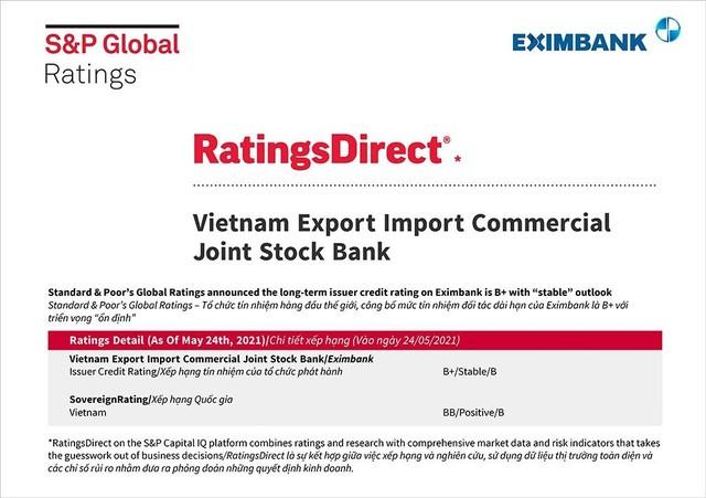 S&P Global Ratings giữ nguyên mức tín nhiệm đối tác dài hạn của Eximbank ảnh 1
