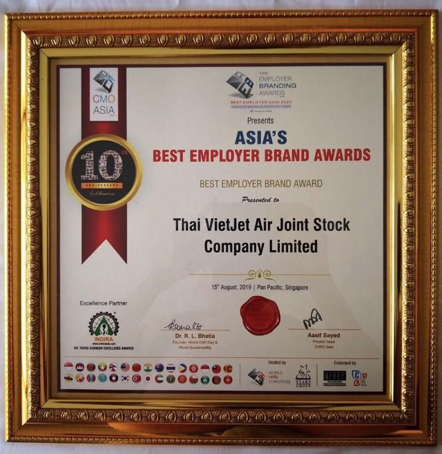 Vietjet Thailand là thương hiệu tuyển dụng tốt nhất châu Á 2019 ảnh 1