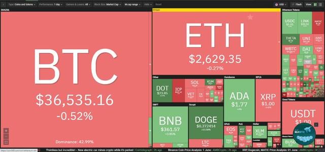 Giá Bitcoin hôm nay ngày 2/6: Lực cản mạnh, Bitcoin chưa thể vượt mốc 37.000 USD, đồng meme Dogecoin bay cao ảnh 1