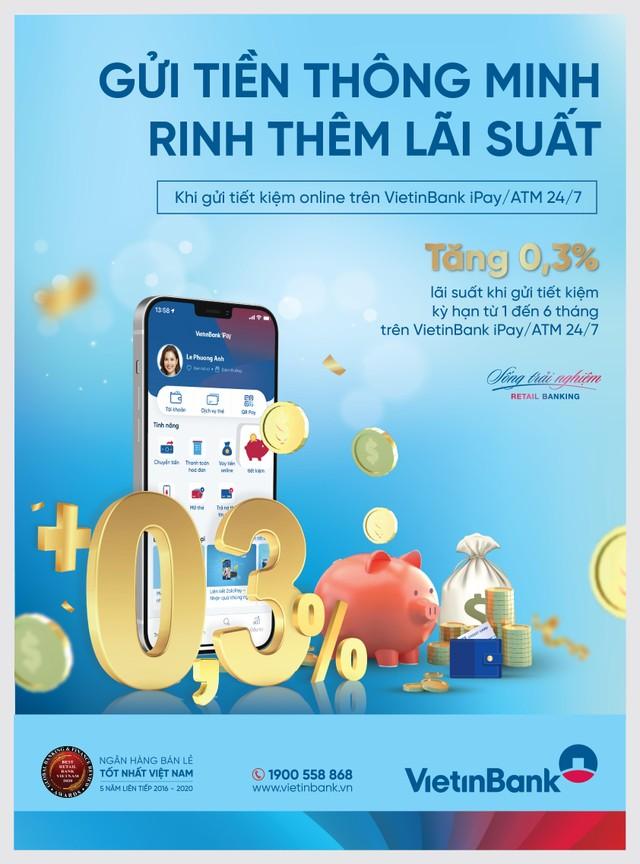 VietinBank tiếp tục ưu đãi cộng thêm 0,3% lãi suất cho khách hàng gửi tiết kiệm online ảnh 1
