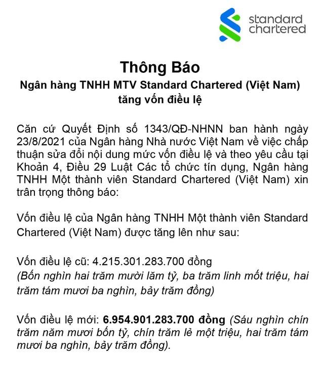 Ngân hàng Standard Chartered Việt Nam thông báo tăng vốn điều lệ ảnh 1