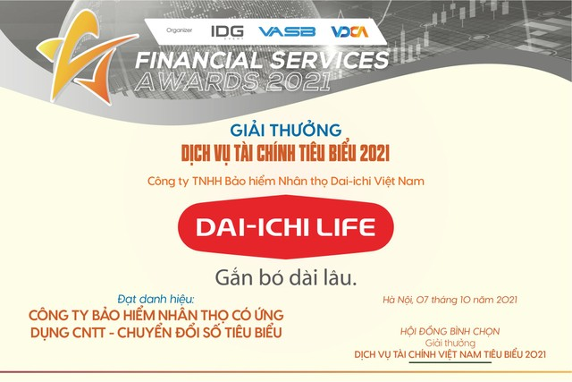 """Dai-ichi life Việt Nam nhận giải thưởng """"Công ty bảo hiểm nhân thọ có ứng dụng công nghệ thông tin - chuyển đổi số tiêu biểu năm 2021"""" ảnh 1"""