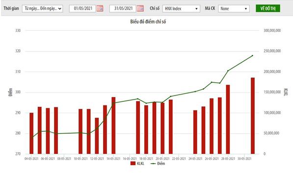 Tháng 5: HNX giao dịch 2,6 tỷ cổ phiếu, chỉ số HNX- Index tăng 12,81% ảnh 1
