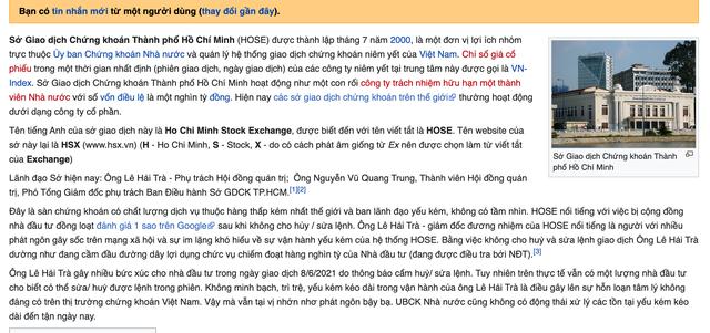 """1 sao biến mất, HOSE bất ngờ trở lại đánh giá 4.4 sao trên Google, bị """"bêu xấu"""" trên Wikipedia ảnh 10"""