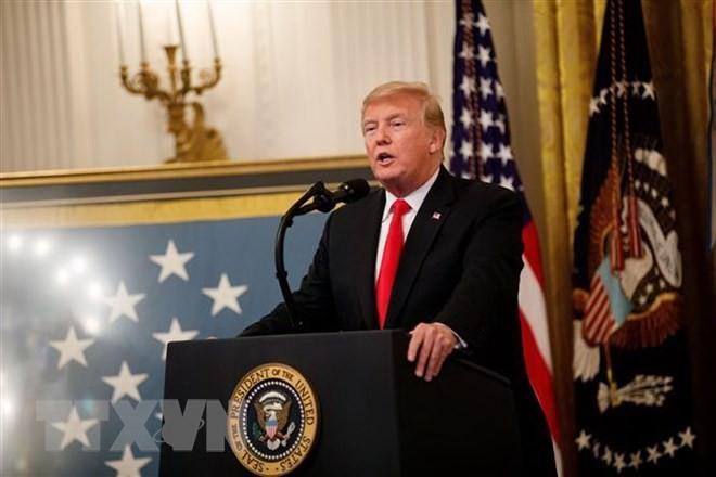 Tổng thống Mỹ Donald Trump phát biểu tại Nhà Trắng. (Nguồn: THX/TTXVN).