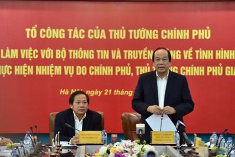 Thủ tướng lưu ý Bộ Thông tin và Truyền thông nhiều vấn đề
