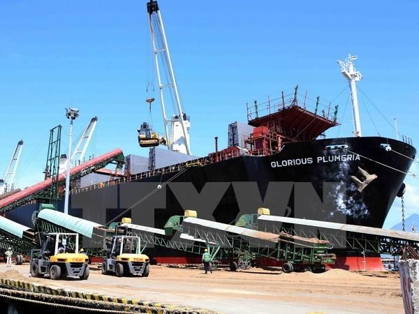 Hệ thống sàn nâng, băng chuyền được đưa vào sử dụng góp phần tăng nâng suất vận chuyển hàng qua cảng Đà Nẵng. (Ảnh: Trần Lê Lâm/TTXVN)