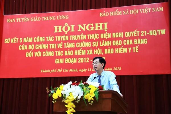 Phó Tổng Giám đốc BHXH Việt Nam Đào Việt Ánh phát biểu tại Hội nghị.