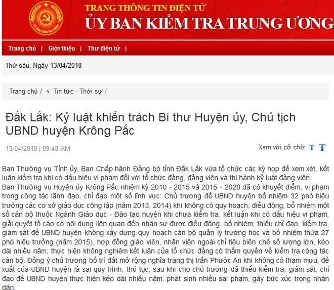 Kỷ luật Phó Bí thư Tỉnh ủy Đắk Lăk; Bí thư, Chủ tịch huyện Krông Pắk ảnh 1