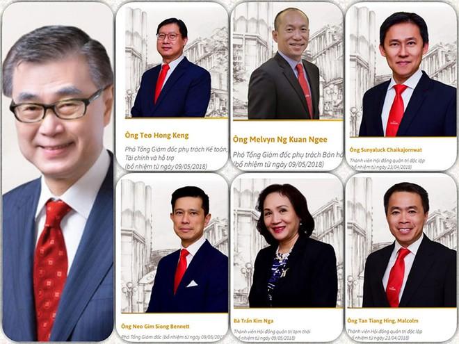 Ông Koh Poh Tiong, Chủ tịch Sabeco (ngoài cùng bên trái) và 6 nhân sự vừa bổ nhiệm từ tháng 4/2018.