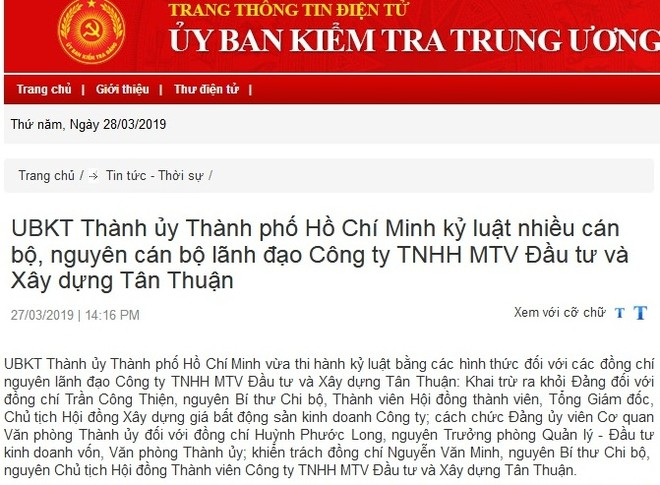 Ủy ban Kiểm tra Thành ủy TP.HCM, UBKT Tỉnh ủy Long An thi hành kỷ luật cán bộ
