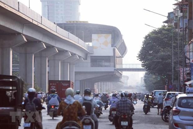 Mật độ các phương tiện tham gia giao thông lớn phát sinh bụi gây ô nhiễm không khí. (Ảnh: Thành Đạt/TTXVN).