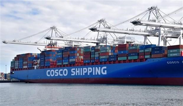 Container hàng Trung Quốc chờ được bốc dỡ tại cảng Long Beach ở Los Angeles, Mỹ. (Nguồn: THX/TTXVN).