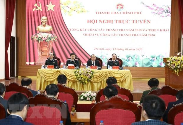 Phó Thủ tướng Thường trực Trương Hòa Bình với lãnh đạo Thanh tra Chính phủ chủ trì Hội nghị. (Ảnh: Văn Điệp/ TTXVN)