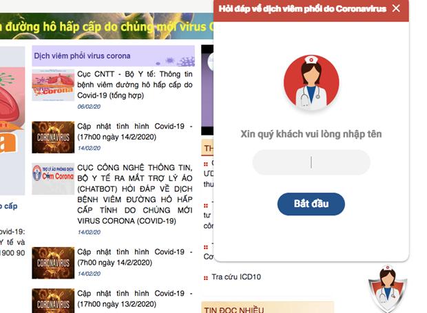 Chatbot hỏi đáp về dịch bệnh COVID-19.
