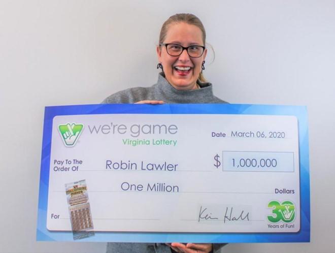 Bà Lawler nhận giải độc đắc trị giá 1 triệu USD. Hãng xổ số Virginia Lottery