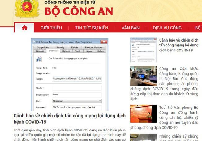 Bộ Công an cảnh báo chiến dịch tấn công mạng lợi dụng dịch Covid-19