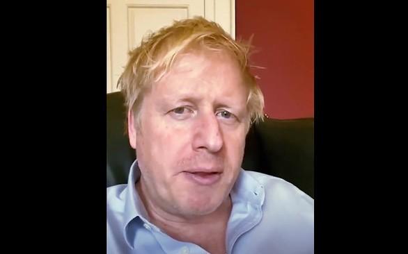 Thủ tướng Anh Johnson trong một cuộc gọi video trước khi nhập viện. Ảnh: Reuters.