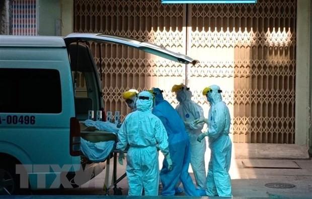 Bệnh nhân số 416 được chuyển đến Bệnh viện Đà Nẵng để điều trị. (Ảnh: Văn Dũng/TTXVN).