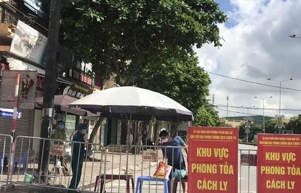 Khu vực phong tỏa trên phố Ngô Quyền (Hải Dương). (Ảnh: Mạnh Minh/TTXVN).