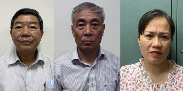 Bị can Nguyễn Quốc Anh (trái), Nguyễn Ngọc Hiền (giữa) và Trịnh Thị Thuận. (Nguồn: TTXVN phát).