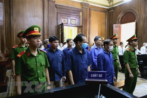 Các bị cáo tại phiên xét xử. (Ảnh: Thành Chung/TTXVN).