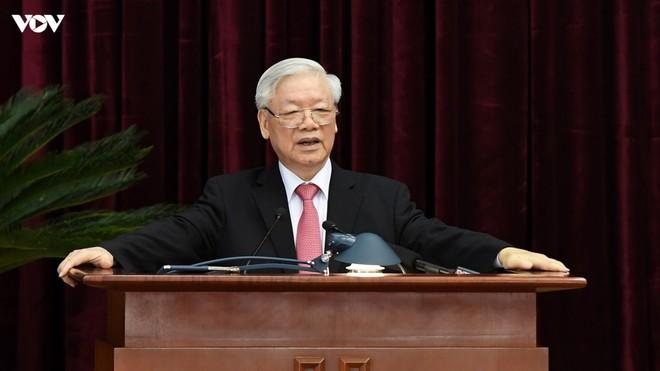 Tổng Bí thư, Chủ tịch nước Nguyễn Phú Trọng phát biểu tại Hội nghị Trung ương 13.