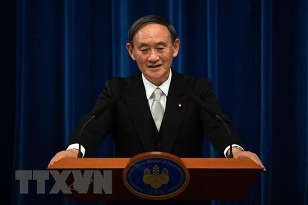 Tân Thủ tướng Nhật Bản Yoshihide Suga phát biểu tại cuộc họp báo ở Tokyo ngày 16/9/2020. (Nguồn: AFP/TTXVN)