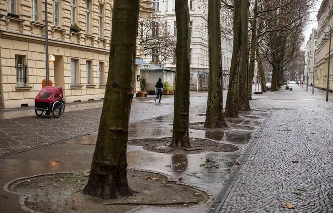 Cảnh vắng vẻ tại một tuyến phố ở Berlin, Đức trong bối cảnh các biện pháp hạn chế được áp dụng nhằm ngăn chặn sự lây lan của dịch COVID-19. (Ảnh: AFP/TTXVN).