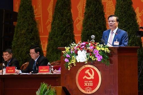 Bộ trưởng Bộ Tài chính Đinh Tiến Dũng phát biểu tham luận tại Đại hội Đảng lần thứ XIII - Ảnh: VGP/Nhật Bắc.