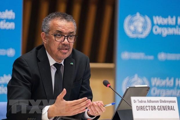 Tổng Giám đốc Tổ chức Y tế Thế giới (WHO) Tedros Adhanom Ghebreyesus tại cuộc họp báo ở Geneva, Thụy Sĩ, ngày 12/2/2021. (Ảnh: AFP/TTXVN).