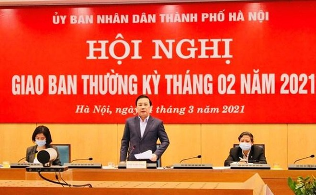 Phó Chủ tịch Ủy ban nhân dân thành phố Hà Nội Chử Xuân Dũng, chủ trì cuộc họp của Ban chỉ đạo phòng chống dịch bệnh COVID-19. (Ảnh: PV/Vietnam+).