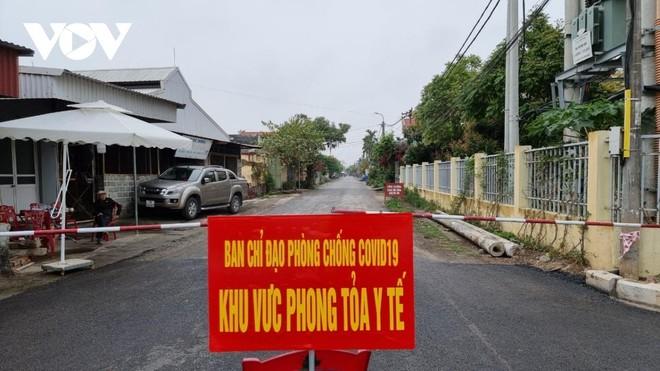 Khu vực phong tỏa tại thôn Việt Tiến, xã Đại Hợp, huyện Kiến Thụy, Hải Phòng, liên quan đến 2 ca bệnh 2582 và 2586.