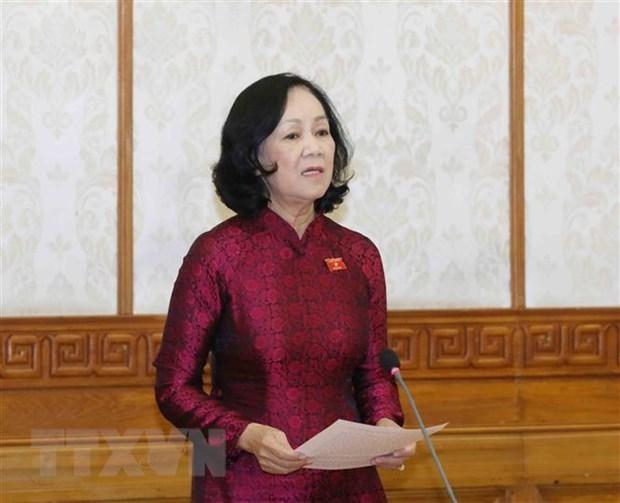 Đồng chí Trương Thị Mai, Ủy viên Bộ Chính trị, Trưởng Ban Tổ chức Trung ương. (Ảnh: Phương Hoa/TTXVN).