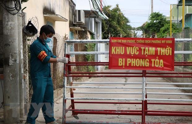 Khu vực phong tỏa tại phường Mỹ Bình, thành phố Phan Rang-Tháp Chàm (Ninh Thuận). (Ảnh: Công Thử/TTXVN)