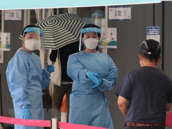 Một điểm xét nghiệm COVID-19 tại Seoul, Hàn Quốc, ngày 28/7. (Ảnh: Yonhap/TTXVN).