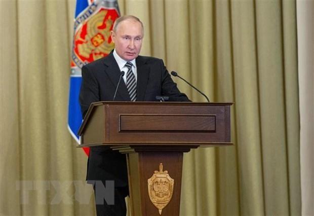 Tổng thống Nga Vladimir Putin phát biểu tại Moskva. (Ảnh: AFP/TTXVN).