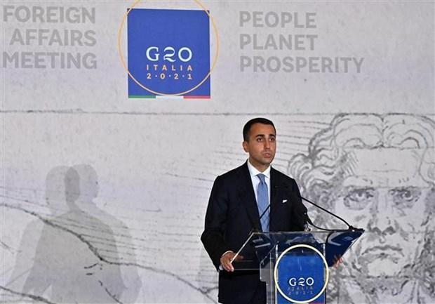 Ngoại trưởng Italy Luigi di Maio tại cuộc họp báo ở Matera (Italy), ngày 29/6/2021. (Ảnh: THX/TTXVN).