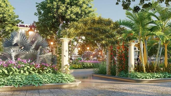 Hệ thống tiện ích, cảnh quan sân vườn xanh mát ngay trong nội khu dự án.