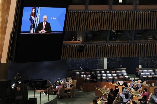Chủ tịch Cuba Miguel Díaz-Canel trong đoạn video gửi tới kỳ họp Đại hội đồng Liên Hợp Quốc khóa 76. (Ảnh: AP).
