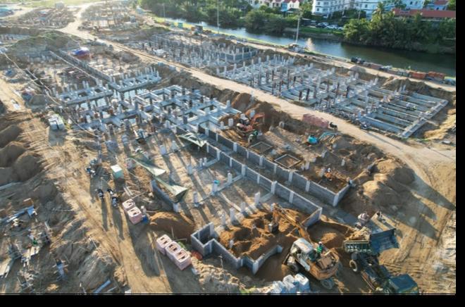 Hoian d'Or đã hoàn tất 99% phần móng của 202 căn Shophouse, sắp tới sẽ thi công phần thân và khu hạ tầng.