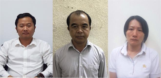 Các bị can Dương Văn Hòa, Trần Ngọc Quang, Phạm Vân Thùy (từ trái qua). (Ảnh: Công an cung cấp).