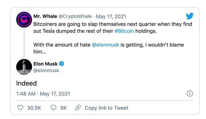 """Elon Musk """"ngầm thừa nhận"""" Tesla có thể đã bán số Bitcoin còn lại ảnh 1"""