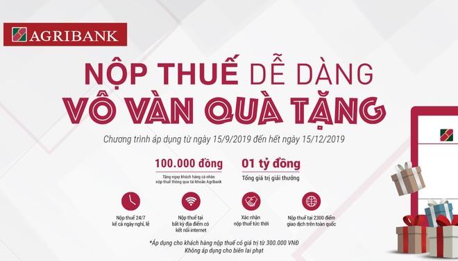 Tặng ngay 100.000 đồng cho 10.000 khách hàng thực hiện nộp thuế qua Agribank