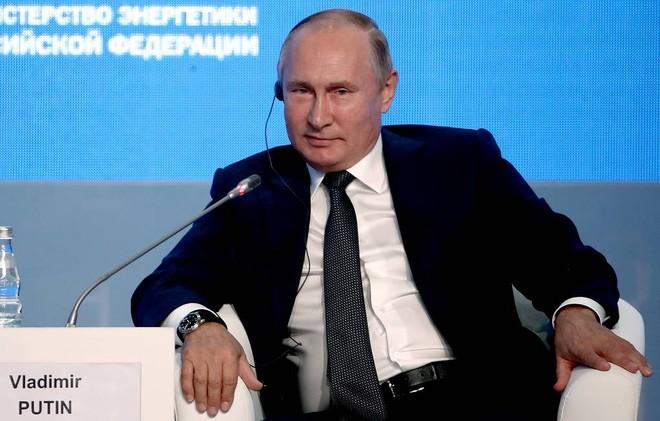 Tổng thống Nga Vladimir Putin tại Diễn đàn Tuần lễ Năng lượng lần thứ 3. Ảnh: TASS
