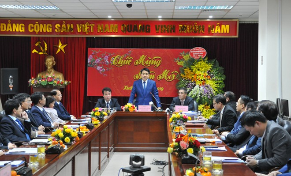 Chủ tịch UBND TP. Hà Nội Nguyễn Đức Chung phát biểu tại buổi làm việc