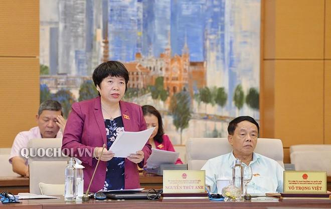 Bà Nguyễn Thúy Anh, Chủ nhiệm Ủy ban Các vấn đề xã hội của Quốc hội giải trình, tiếp thu Bộ luật Lao động.