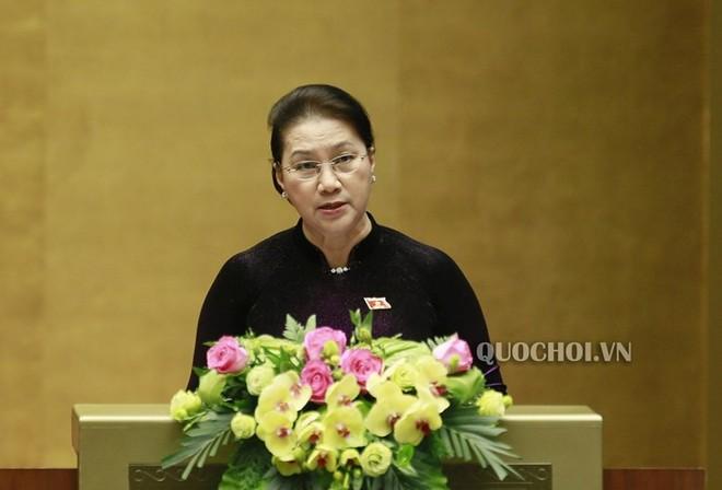 Chủ tịch Quốc hội Nguyễn Thị Kim Ngân phát biểu bế mạc kỳ họp thứ 8 Quốc hội khóa XIV